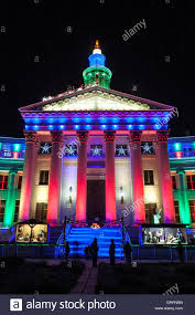 Colorado Lighting City County Building Decorated With Christmas Lights