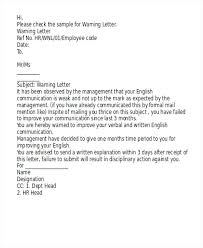 Poor Performance Warning Letter Format Template Review