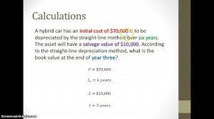 Straight Line Method For Depreciation Book Value Depreciation Straight Line Method Youtube