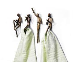 Decorative Bathroom Towel Hooks Unique Towel Hooks With Stylish Brass The Human Form Funny Towel