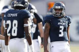 rice university football helmet. Exellent University Rice Owls Quarterback Miklo Smalls 3 Talks With Wide Receiver Aaron  Cephus 28 On University Football Helmet