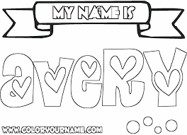 Small Picture Printable Name Coloring Pages Avery