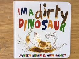 today we had our special guest nancy the usborne book lady read us this fabulous picture book and we had fun making dirty dinosaur prints with brown paint