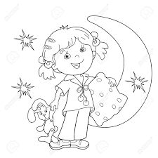 Coloring Page Outline Of Cartoon Girl In Pajamas With Pillow ...