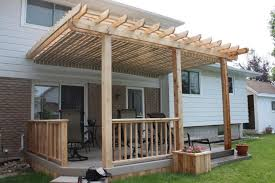 plans medium size low single level deck design with planters and a pergola and deck pergola plans b