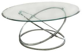 image of round chrome and glass coffee table
