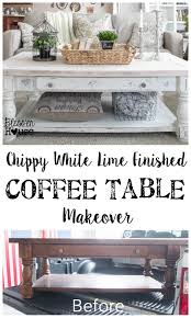 Old Coffee Table Makeovers Chippy White Lime Finished Coffee Table