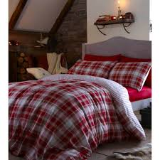 tartan red plaid cotton duvet cover set