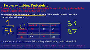 Probability Chart Examples Copy Of Two Way Tables Lessons Tes Teach