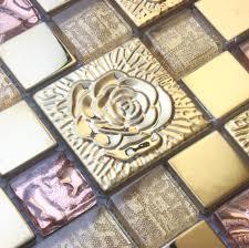 pink rose stainless steel tile backsplash ssmt298 kitchen mosaic glass wall tiles free 3d glass mosaics tiles