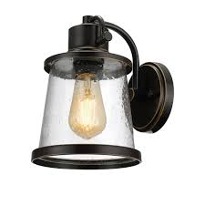 charlie collection 1 light oil rubbed bronze led outdoor wall sconce with clear seeded glass shade led bulb included