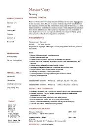 Sample Of Qualifications In Resumes Nanny Resume Example Sample Babysitting Children Professional