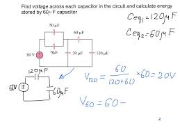 finding voltage across capacitors in the electric circuit example with solution you