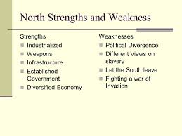 Civil War Strengths And Weaknesses Chart Civil War Key Events Do Now Make A T Chart For Strengths