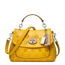 Lyst - Coach Poppy Eyelet Leather Top Handle Crossbody in Yellow