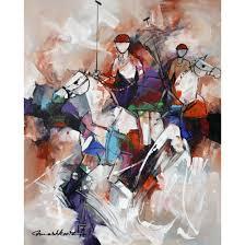 mashkoor raza 24 x 30 inch oil on canvas abstract horse painting ac mr 036