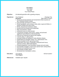 Server Resume Objective This Is Bartender Server Resume Waitress Resume Template Waitress 97