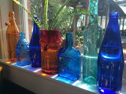 How To Decorate With Colored Glass Bottles DIY Decorating with Vintage Glass Bottles MOSS MANOR 2