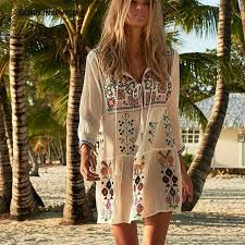 BOHO INSPIRED Floral Embroidered bohemian chic women's summer dress tassel  tied white sleeve beach dress female