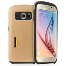 samsung galaxy s6 gold case. caseflex samsung galaxy s6 hard case with card slots matte finish - gold