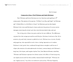 comparative essay walt whitman and emily dickinson gcse  document image preview