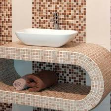 bathroom mosaic tile wall glass matte print forest haya