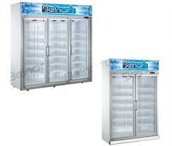 three glass door commercial fridge freezer