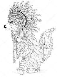 Mooie Wolf Kleurplaat Stockvector Kchungtw 103773396 Within