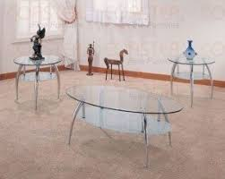 3pcs Contemporary Oval Glass Top Coffee U0026 2 End Tables Set