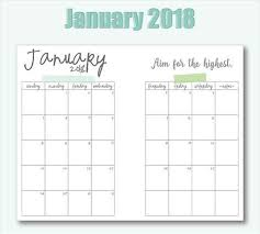 Printable Free Monthly Calendars Free Printable A5 2018 Monthly Calendars Planner Pages