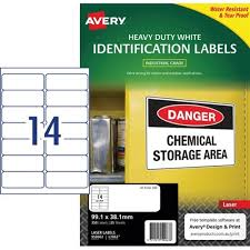 Avery Heavy Duty Laser Labels L7063 White 14 Per Sheet