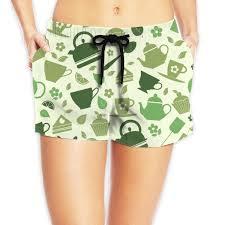 Amazon Com Pattern Of Green Tea Illustrations Womens