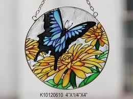 custom blossom and erfly patterns stained glass suncatcher design images