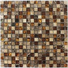 Glas Naturstein Mosaik Fliesen Beige Braun 15x15x8mm - DS33382