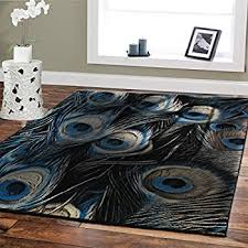 large premium soft luxury peafowl style rug for living room 8x11 navy blue beige brown peacock rug77 peacock