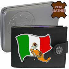 mexico mexican flag map coat of arms klassek real leather wallet with options