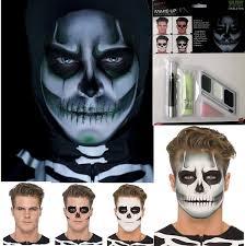 glow gid skeleton skull face paint make up fancy dress costume kit