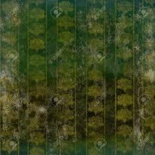 Grunge Geruïneerd Behang Met Vintage Bloemmotief Goud Op Groen