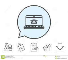 Online Shopping Cart Line Icon Laptop Sign Stock Vector