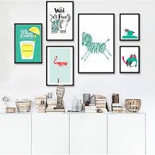 lemon juice mural nordic style mint green poster animals canvas wall art oil painting simple art on mint green canvas wall art with lemon juice mural nordic style mint green poster animals canvas wall