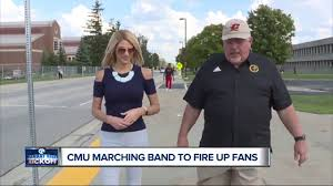 Central Michigan marching band performing on Monday Night Football