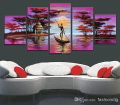 office wall paintings. Cheap Wall Art Framed Oil Painting Canva Big Size Abstract African Purple Landscape Quality Hand Painted Modern Home Office Hotel Decor Paintings O