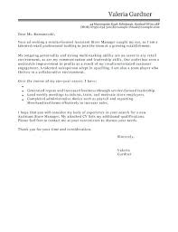 Cover Letter Retail Manager Cover Letter Template For Assistant