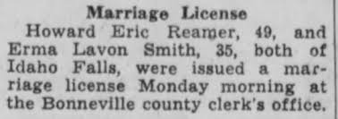 Howard Reamer marriage to Erma Smith 1949 - Newspapers.com