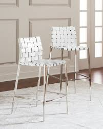 interlude homekennedy woven leather bar stool white