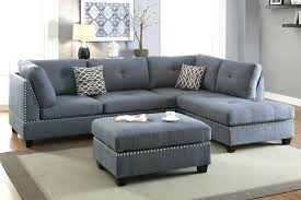 reversible chaise sectional blue grey sofa ottoman set vogue bonded leather espresso