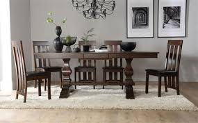 cavendish dark wood extending dining table with 4 chester chairs brown seat pad