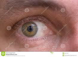 close up of eye with reflection of camera on retina