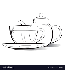 teacup and teapot drawing. Contemporary Teapot Drawing Teapot And Cup Of Tea Vector Image With Teacup And Teapot T