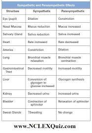 Sympathetic And Parasympathetic Effects Cheat Sheet Nclex Quiz